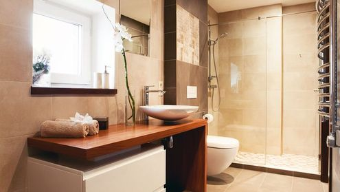 A wet room designed and installed by Holloway Bathrooms.